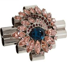 MAWI LONDON Silver Tone Embellished Pipes Brooch