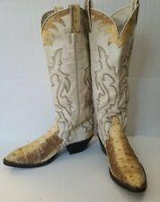 Vintage Women's Larry Mahan White Exotic Snakeskin Cowboy Boots 7.5 B Triad