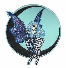 Crescent Moon Dark Faery Shadow Butterfly Fairy Girl Iron On Applique Patch
