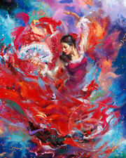 Flamenco Dancer 30 x 24 S/N LE Gallery Wrapped Canvas by Blend Cota