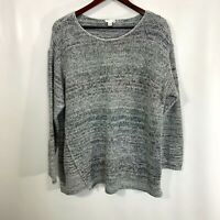 J Jill Pure Jill XL Sweater Gray Knit Crew Neck Long Sleeve Pullover Cotton Mix