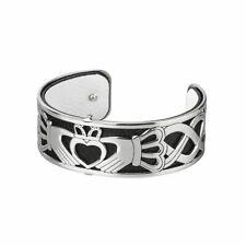 Claddagh Bangle Bracelet Rhodium & Leather Irish Made by Solvar S50001