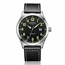 Rotary MEN'S Automatic Watch with Black Leather Strap & Dial GS00659/19 RRP:£189