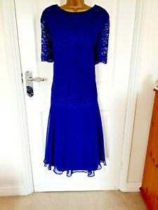 NWT Classic Size UK-20 lined Lace/Chiffon Fit & Flare Dress in Royal Blue