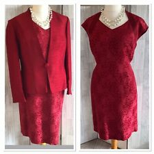 Jacques Vert Red Dress Suit, Wedding, Mother Of The Bride Uk18/20 Immaculate