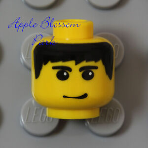 NEW Lego Agent MINIFIG HEAD - Pirate Girl Boy w/Black Hair & Classic Smile Grin
