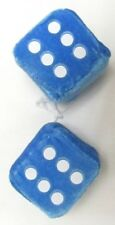 "AUTOMOBILE - CAR FUZZY DICE PAIR WITH STRING 2.5"" CUBES BLUE"