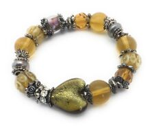 """Glass Bead Heart Bracelet Gold Flower Crystal Silver Plated Charms Stretch 8"""""""