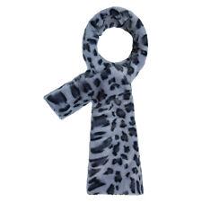 Faux fur leopard easywrap scarf winter fashion accessory animal print blue
