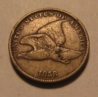 1858 Small Letters Flying Eagle Cent Penny - Very Fine Condition - 33SU