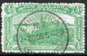 NEW ZEALAND 1906 1/2d Christchurch side inverted wmk., SU  CDS. C.P. S1a(z).