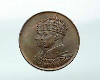 1943 CANADA UK King GEORGE VI CORONATION with Queen Large Old Medal Coin i87675