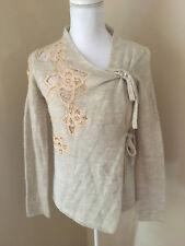 Anthropologie MOTH XS Beige Wool Blend Wrap Cardigan Sweater w/ Lace Floral Trim