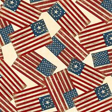 COLORS OF FREEDOM~WILMINGTON PRINTS~BY 1/2 YD~AMERICAN FLAGS ON CREAM~OLD GLORY