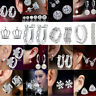 925 Silver Crystal Rhinestone Zircon Stud Earrings Wedding Jewelry Womens Gift