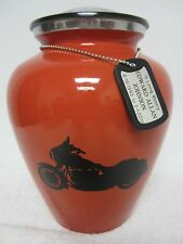 304 Orange Biker Motorcycle Adult Funeral Memorial Cremation Urn Engraved ID Tag