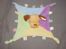 Kids Preferred Puppy Dog Baby Blanket Satin Tags Finger Puppet Knotted Corners