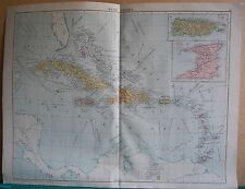 1919 Large Map- West Indies, Inset Puerto Rico,Trinidad