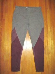 Athletic Works Gray Purple High Rise Spandex Fitness Leggings Large-Tall New