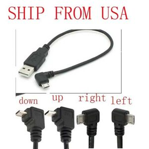 USB 2.0 A Male to Left Right 90 degree Angle Micro 5 Pin Cable For samsung htc