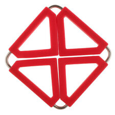 Non-Slip Steel Silicone Hot Pan Pot Holder Stand Trivet Table Mat Red