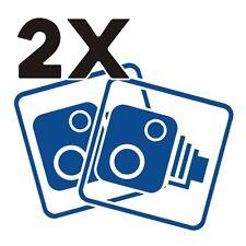 2X Car CCTV Camera Icon Vivid Blue Car Van Taxi Window Bumper Sticker Dash Cam