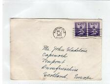 USA: 1953 cover to Scotland - Han Christian Andersen Statue Fund label (C29382)
