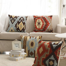 4pcs Cotton Linen Sofa Cushion Cover Set Geometric Throw Pillow Case Home Decor