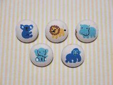 5 Zoo Animal (Koala,Lion,Hippo,Elephant,Gorilla) Fabric Covered Buttons - 20mm