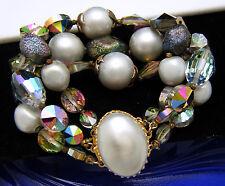 Vintage Signed Alice Caviness Faux Pearl Rivoli Crystal Bracelet Gorgeous