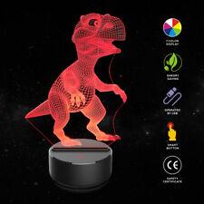 LED Dinosaur 3D Night Light Table Desk Lamp 7 Colors 3D Optical Illusion Light h