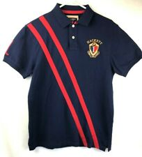 Vintage Hackett London Mens M 1983 Camel Polo Logo Tailored Fit Stripes Navy/Red