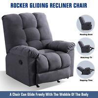 Rocker Gliding Recliner Chair Manual Reclining Soft Living Room Lounge Sofa