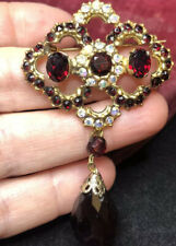 vintage jewellery Stunning Garnet Drop Crystal Pendant Brooch