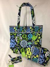 Vera Bradley Disney Where's Mickey Blue Green XL Vera Tote Cosmetic Bag Zip ID