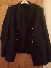 Marks And Spencer Black Double Breasted Black Ladies Jacket Size 22