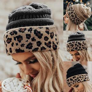 Women Men Leopard Print Fashion Beanie Hat Soft Winter Warm Cap Turn UP Hat tp