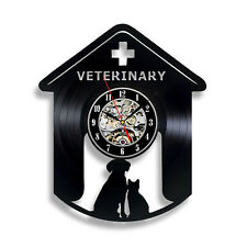 Veterinary Clinic Decoration Gift for Dog and Cat Doctor Vinyl Record Wall Clock