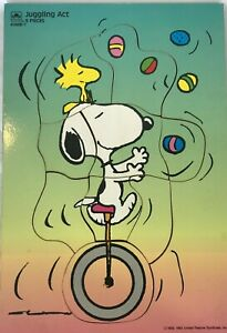 Vintage Easter 1965 Wooden Jigsaw Puzzle Golden Snoopy Juggling Act 4188B-1