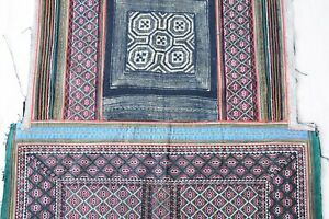 Old Antique Chinese Tribal Miao Ethnic Handmade indigo Baby Carrier piece PD103