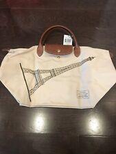 New Longchamp Le Pliage Eiffel Tower Medium Tote Top Handle Hand Bag Paper Beige