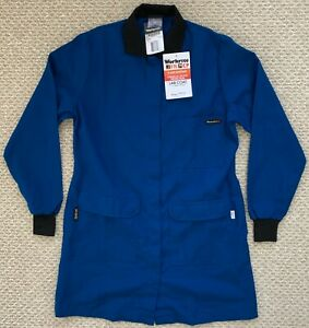 """NWT Workrite FR CP Chemical Protection Womens Lab Coat 35.5"""" Blue Medium"""