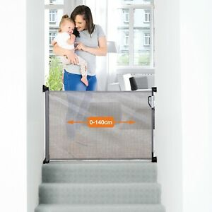 Dreambaby Retractable Mesh Extra Tall Baby and Pet Safety Stair Gate-Grey, 140cm