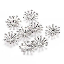 15 Flower Bead Caps Silver Tone Fits 12mm and Larger Beads - FD531