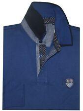 MAGLIA POLO UOMO M L XL XXL 3XL 100% cotone manica lunga azzurro Be Board