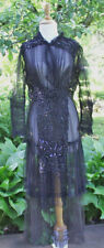 ANTIQUE DRESS EDWARDIAN 1910 HEAVILY BEADED WITH SEQUINS BLACK NET LACE DRESS