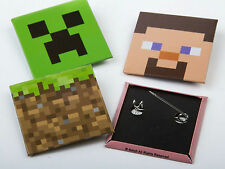 Minecraft OFFICIAL Creeper Steve Metal Pin Badges Pack of 4