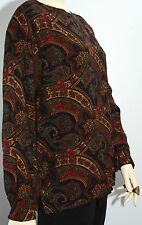 Paisley Vintage Alfred Dunner Long Sleeves Buttons Blouse Size 12 Blue Green Red