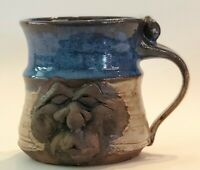 VINTAGE FACE STONEWARE POTTERY CLAY 3-D COFFEE MUG BLUE and TAN