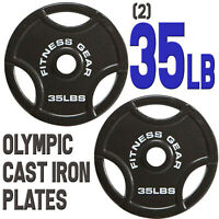 "(2) 35lb 35 lbs Olympic 2"" Dia Barbell Cast Iron Plates Weights Fitness Gear 45"
